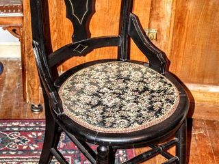 Antique Vanity ladies Chair Parlor Chair with Embroidered Seat Pad