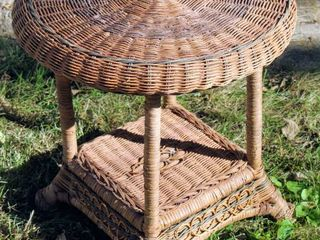 Vintage Woven Wicker Round Side Table