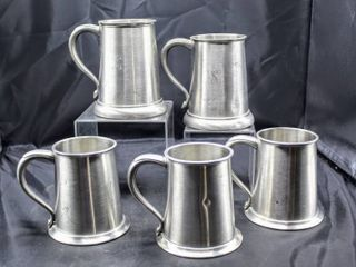 5  Vintage English Tankards  Shuler Pewter and Made in England