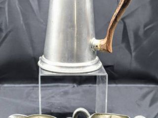 Vintage Stieff Pewter Wood Handled Pitcher and Genuine Pewter Cream and Sugar Set