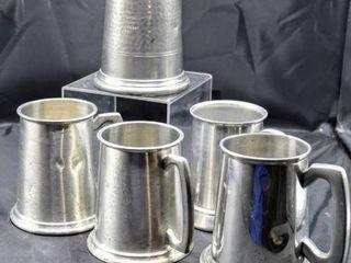 5  Vintage English Tankards  Sheffield and Raimond Viners of Sheffield Made in England   English Pewter Tankard Mugs