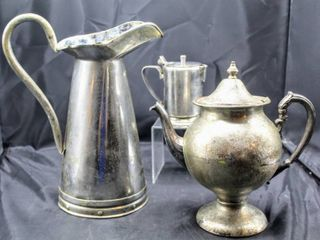 Vintage Made in Portugal Tall Water Pitcher and Silver Plated Items