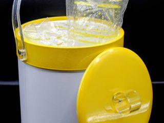 Vintage Mid Century White and Yellow Vinyl Ice Bucket and Matching Donde Tumblers