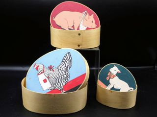 Wooden lidded Farm Nesting Containers  Hen  Pig  lamb