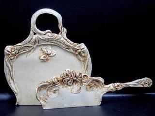 Paint over Silver plated metal dust pan and scoop  Christofle Gallia  Art Nouveau  rich floral decor