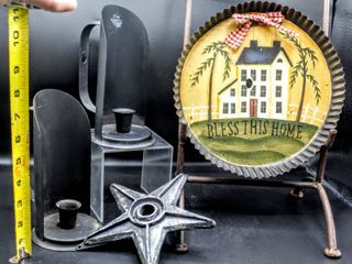 9  Country Hand Painted Pie Pan  8  Black Metal Handled Candle Sconces and Heavy Metal Star
