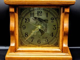 Oak Bass Fish Mantle Clock