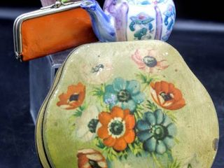 Vintage Pretties including Hinged Tin Container and Buttons  Staffordshire Bone China Bouquet  Aida  and Miniature Tea Pot signed by Ben Rickert