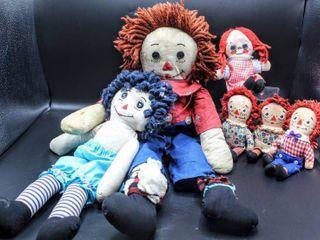 Vintage Raggedy Ann  Raggedy Andy and Candy  6  Ragdoll Plush Dolls  Knickerbocker and larami