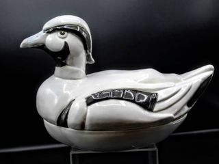 Signed and Glazed Ceramic Duck Cookie Jar 11  x 8
