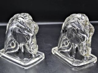 VINTAGE 1950 s PAIR of ClEAR FEDERAl GlASS HORSE HEAD BOOKENDS EQUESTRIAN