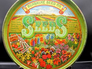 Vintage  Sunshine Seed CO  Serving Tray 14  Diameter x 1 5  Deep  Beautiful Bright Colors