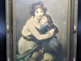 Antique Portrait Print of Woman and Child Embracing Framed By Emery Bird Thayer Co  Kansas City  MO  16  x 20