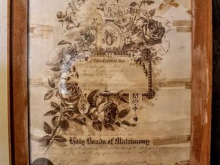 Antique Framed Marriage Certificate 1894