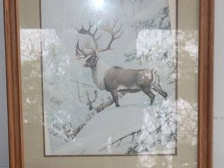 large Oak Framed and Matted Elk Print  needs to be opened to clean and realign