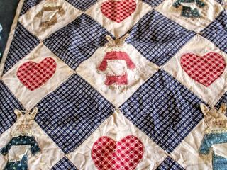4  Vintage Small Quilts  Tree s 20  x 19    land and Sky 36  x 20  Bunnies 27  x 36  Patchwork