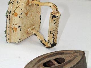 Antique Potts  2 Sad Iron and Unmarked Painted Sad Iron