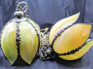 Rare Vintage Duo Tulip Stained Slag Glass Hanging Chandelier light Fixtures 6 Panels 11  x 6