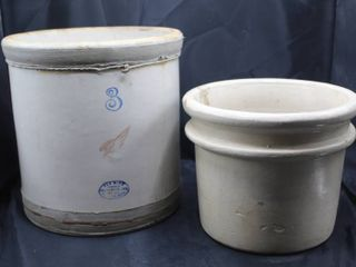2  Vintage Crocks   3 Redwing and Unmarked Crock