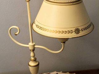 Vintage Tole Metal Ivory and Gold Detail Desk lamp
