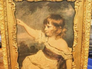 Gorgeous Ornate Vintage Framed Picture of Pointing Girl 27 5  x 23 5