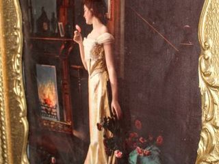 Beautiful Ornate Victorian Framed Picture of Woman Standing In Front of Fireplace 23  x 27