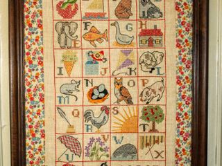 Vintage Quilted  Framed Needlepoint Art  Teach Me Please  measures 27  x 21