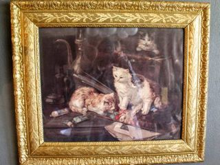 Beautiful Vintage Ornate Gilded Frame of Cats at Play 26  x 22