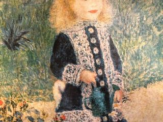 Colorful Print of A Girl with a Watering Can  by Auguste Renoir  1876 in Ornate Frame 29 5  x 23   no glass