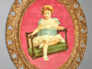 Vintage Advertisement Cut Out  can t find this image  on Felt in Gorgeous Ornate Frame 23 5  x 27 5