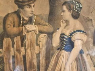 Antique Framed Believed to be Hand Painted lithograph of Man and Woman 22  x 18 5