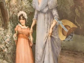 Gorgeous Ornate Framed Picture of Victorian Woman and Girl 26 5  x 30 5
