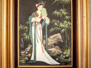 High Quality Framed Art Beautiful Signed Asian Art  Oil on Canvas Framed Painting of Beautiful Geisha Girl 20  x 24  Frame Stamped Wolsey Co    581