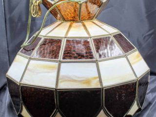 Vintage Stained Slag Glass Hanging Chandelier light Fixture  Multi Panel Stained Glass Approximately 18  Diam