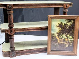 Vintage Display 3 Tier Shelf 15  x 10 5  x 6  and Framed Picture 8  x 6