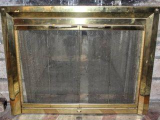 Polished Brass Plated Masonry Fireplace Door 38 5  x 28 5  x 1 8  Thick