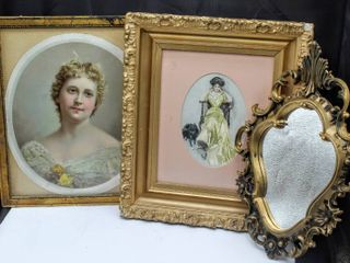 Antique Vintage Gilded Trio including  2  Framed Portraits  Harrison Fisher 1908  and Gothic Mirror