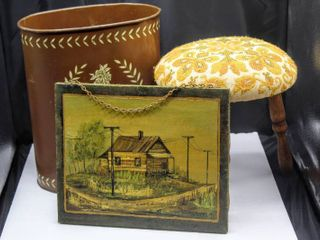 Vintage lot including Weibro Waste Basket  Floral Padded Stool  and Wood Art