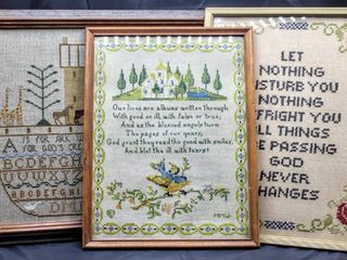 3  Piece Vintage lot  Needlepoint Art  Noahs Ark 14  x 16  let Nothing 13 5  x 11  Our lives Are Albums 10 5  x 13