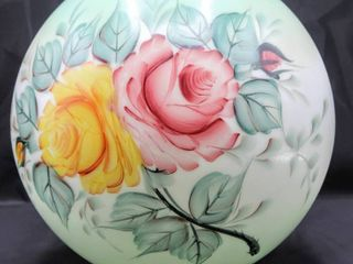 Antique Opal Glass Ball Hand Painted lamp Shade 10  Diam x 9 75  Victorian Roses Scene