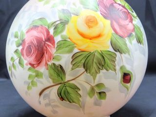 Antique Opal Glass Ball Hand Painted lamp Shade 9  Diam Victorian Roses Scene