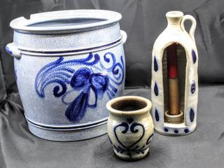 Vintage German Glazed Pottery Stoneware including Rumtopf Crock  Maple City Pottery Cup  Monmouth Ill  and Candle Holder