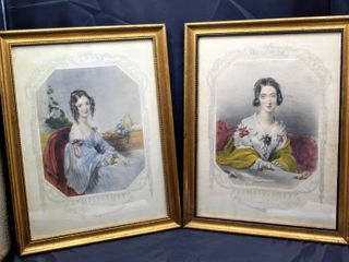 Pair of Victorian lady Framed lithographs 15  x 11 5