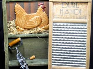 3 Piece Vintage Country Wall Spice Rack Shelf Towel Bar  Double Handi Wash Board and Vintage Hand Blender with Wooden Handles