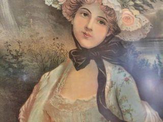 large Vintage Framed Victorian Portrait of Woman