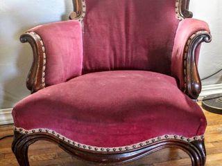 Antique Burgundy Crushed Velvet Parlor Chair