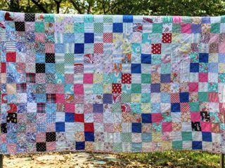 Antique Vintage Square Patch Quilt 78  x 66
