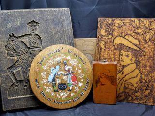 Vintage Wooden Decor lot  5  Items including Dr Herbras  Voila Cream  Advertisement Circa 1880 s