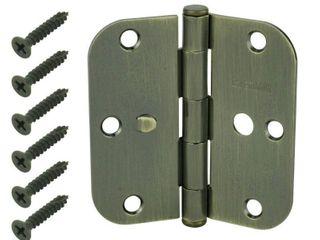 Door Hinges  Hinges 3 1 2 in  Antique Brass 5 8 in  Radius Security Door Hinges  3 Pack  14891