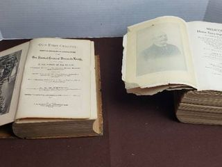 2 Antique Books   Our First Century  1879    Medicology  1903    both are fairly rough see pix